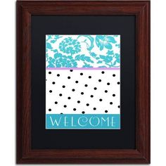 Trademark Fine Art Teal Dots Canvas Art by Color Bakery, Black Matte, Wood Frame, Size: 11 x 14, White