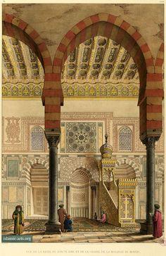 """Interior, qibla wall, Complex of Sultan al-Muayyad Shaykh , color plate XXVIII of Pascal Coste's """"Architecture arabe; ou, Monuments du Kaire, mesurés et dessinés, de 1818 à 1826″, 1818-1826"""