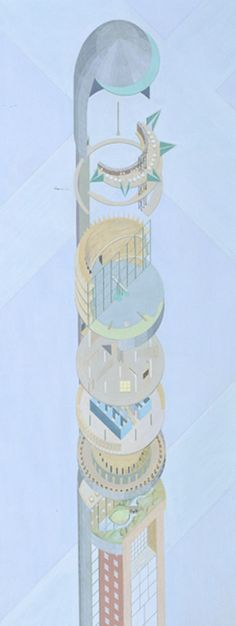 Hotel Sphinx (The Head) Project, New York, New York (Axonometric). Architecture and Design Conceptual Architecture, Architecture Drawings, Futuristic Architecture, Planetarium Architecture, Axonometric Drawing, Rendering Art, Rem Koolhaas, Presentation Layout, Expresso