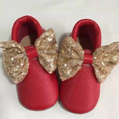 3e825e5bfcb Metallic Red Bow Leather Moccasins- Baby