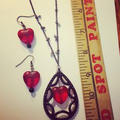 Up cycled vintage red valentine jewelry necklace