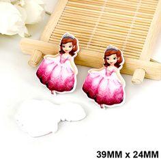 50pcs/lot Cartoon Red Dress Princess Sofia Flat Back Resin Kawaii DIY Planar Resin Crafts for Home Decoration Accessories DL-516