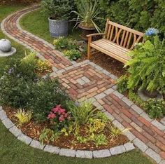 Brick Walkway. Brick allows for many design options. This path is laid in a running bond pattern with a contrasting border, but basket-weave, herringbone, and stacked bond patterns are also excellent choices for a brick walkway.