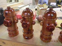 Hand-turned Cedar Fire Hydrants
