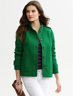 Textured cotton jacket at Banana Republic. Love the bright green. Technically outerwear, but I'd wear it as a jacket at work.