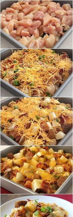 Easy Baked Potato And Chicken Casserole. LOADED With Chicken Breast Crispy Smashed Potatoes. I Topped [& The post Easy Baked Potato And Chicken Casserole. LOADED With Chicken Breast Crispy Smash& appeared first on Chicken Recipes Easy. Brunch Casserole, Casserole Recipes, Healthy Recipes, Cooking Recipes, Cooking Fish, Drink Recipes, Easy Baked Potato, Loaded Baked Potato Casserole, Chicken Potato Casserole