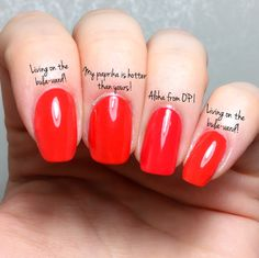 opi comparison Living on the bula-vard! – Aloha from OPI – My paprika is hotter than yours! Red Orange Nails, Bright Red Nails, Burgundy Nails, Blue Nails, Opi Red Nail Polish, Opi Nails, Nail Polish Colors, Aloha Nails, Nail Polish