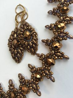 Antique Gold Beaded Set Golden Necklase Set by BeadFantasyBoutique