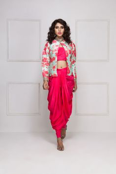 HOUSE OF OMBRE coral pink dhoti set with mint blue floral printed jacket #flyrobe #weddings #indianweddings #mehendioutfits #indianbride #designerwear #dhotiset