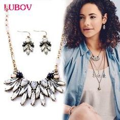 Marble Stone Vintage Statement Necklace & Earring Sets