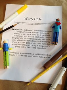 "Worry Dolls- How to. Have you heard of ""worry dolls""? It's the idea of it that eases the mind. they are really neat! Worry Dolls, Counseling Activities, Art Therapy Activities, Diversity Activities, Coping Skills Activities, Anxiety Activities, Physical Activities, Therapy Tools, Play Therapy"