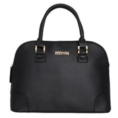 Kenneth Cole Reaction Poppins Dome Satchel (Saffiano Black) Kenneth Cole REACTION