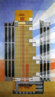 One South Wacker, Chicago IL (1981-82) | Combination of Cross Section, Facade Development and Plan of the Top Floors | Helmut Jahn