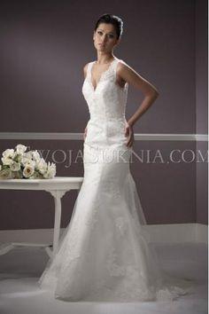 Corset V-neck sheath column chapel trian tulle Wedding Dresses