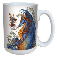 TreeFree Greetings lm43544 Fantasy Curiosity Dragon and Fairy Ceramic Mug with Full Sized Handle by Amy Brown 15Ounce ** Check out this great product.