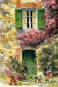 Green Shutters And Bougainvillaead Walls, Large Earthen Urns —The Mediterranean Calls ~ Eric Thompson Watercolour Painting, Painting & Drawing, Painting Flowers, Beautiful Paintings, Belle Photo, Love Art, Painting Inspiration, Amazing Art, Mail Art