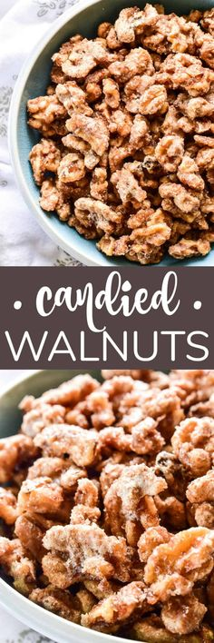Candied Walnuts are a deliciously sweet, crunchy combo that's also incredibly addictive. They're one of our favorite snacks and make a delicious addition to salads, cheese boards, or desserts! Easy No Bake Desserts, Best Dessert Recipes, Delicious Desserts, Snack Recipes, Cooking Recipes, Yummy Food, Snacks, Recipes Dinner, Appetizer Recipes
