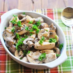 Chicken Stroganoff - Succulent chicken pieces, cooked in a delicious sauce of onions, mushrooms and sour cream.