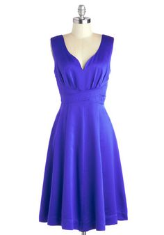 Ladylike Luster Dress - Long, Satin, Woven, Solid, Cocktail, A-line, Sleeveless, Good, Blue, Wedding, Party, Exclusives