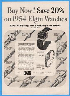 1954 Elgin Watch Alden Nancy Valeene Garfield Noreen Daria Holly Sinclair Art Ad | eBay