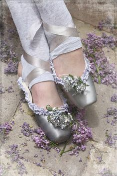 Light as air....Vintage silver pointe shoes!