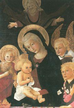 """""""Vierge à l'enfant"""" de Pier Francesco Fiorentino (salle florentine)  , l'enfant Jésus tient un chardonneret qui est l'oiseau de la passion car il vit sur des épines, la grenade est l'emblème de l'Eglise à cause de la multiplicité des grains unis dans un même fruit, les cerises représentent la douceur du ciel promis tandis que la fleur de lys que tient l'ange est le symbole de la virginité."""
