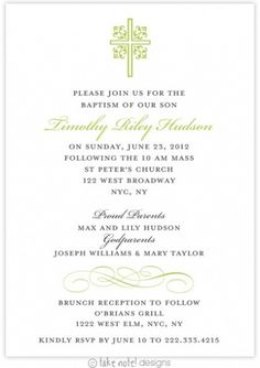 another nice green baptism invite