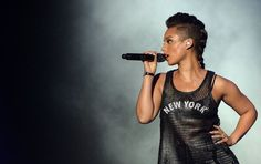 Alicia Keys black braided Mohawk hairstyle