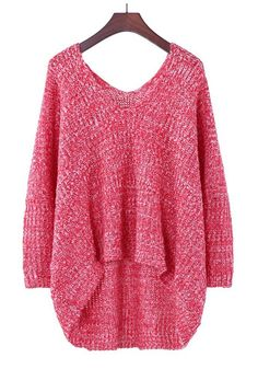 Red Plain Pleated V-neck Bat Sleeve Thick Cotton Blend Sweater