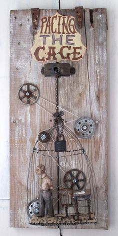 Pacing the Cage mixed media assemblage art sculpture , automata