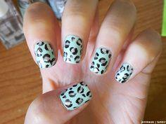 Minty Leopard Print Nails <3