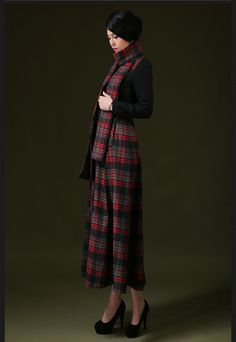 2015 new winter female long-sleeved wool dress Puff bottoming Korean version was thin stitching plaid skirt | Japanese street fashion japanese fashion magazine japan store korean style chinese fashion trendy