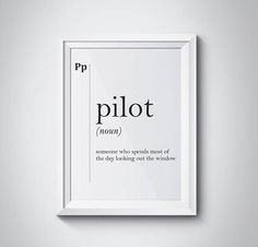 Pilot Funny Definition Print Gift Coworker Military Dictionary Wall Art Professions Home Office Decor Scandinavian Poster