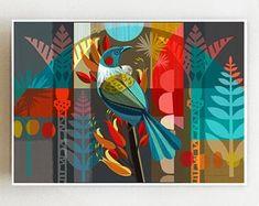 Landscape, Tui in flax, print Nz Art, Yellow Art, Decoration Design, Art Plastique, Bird Art, Art Techniques, Urban Art, Collage Art, Graphic Illustration