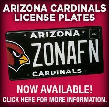 Arizona Cardinals Silver Mirror Team Logo License Plate - Silver