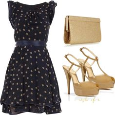 Blue and Gold Polka Dots, created by styleofe on Polyvore
