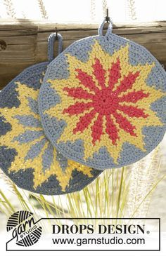 """#crochet round pot holder with multi-colored pattern in """"Paris"""". Free pattern"""
