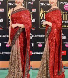 Buy Deepika Padukone Iffa Red And Beige Saree georgette-saree online