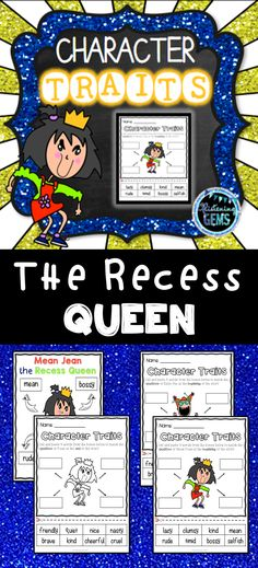 The Recess Queen Character Traits No Prep Printables and anchor charts - This book companion is perfect for back to school, and to teach students about character traits! Character Traits Meaning, Character Traits Activities, Feelings Activities, Literacy Activities, Character Education, Literacy Centers, Recess Queen, Mean Jean, First Day Of School Activities