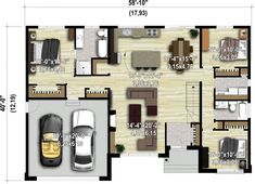 House architecture styles awesome floor plans new Ideas House Plan With Loft, Dream House Plans, Modern House Plans, Small House Plans, House Floor Plans, The Plan, How To Plan, Bungalow Haus Design, Modern Bungalow House