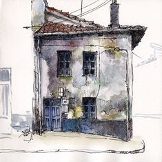 Abandoned house in Guardo. Life sketch in open air. Watercolour and marker. Sketch Painting, Watercolor Sketch, Watercolor Paintings, Watercolours, Watercolor Architecture, Architecture Art, Art Sketches, Art Drawings, Life Sketch