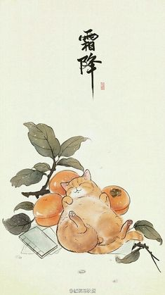 This piece perfectly illustrates my sunday soul - Cats Galore - Orange Art And Illustration, Botanical Illustration, Japanese Art Samurai, Word Drawings, Japanese Art Modern, Cat Wallpaper, Chinese Art, Chinese Painting, Dog Tattoos
