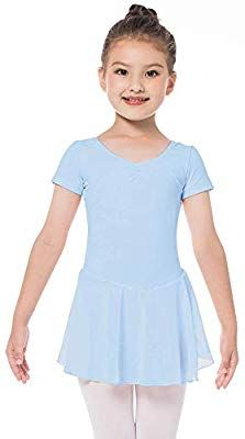 Mädchen Kinder Ballettkleid Kurzarm Ballett Kleid Trikot Turnanzug mit Tüllrock