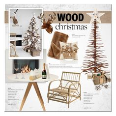 """Wood Christmas"" by cruzeirodotejo ❤ liked on Polyvore featuring interior, interiors, interior design, home, home decor, interior decorating, Sage & Co., Bloomingville, Burberry and Head"