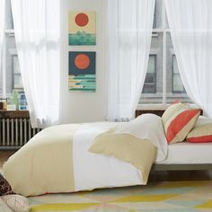 Color-Block Duvet Set Salmon