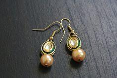 Assorted Kundan Earrings Hook Jhumka Enamel by JhumkaJunction