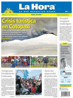 Buenos días estimados lectores. Damos inicio a una nueva jornada de noticias presentando nuestra portada de hoy jueves 3 de septiembre en #Quito.