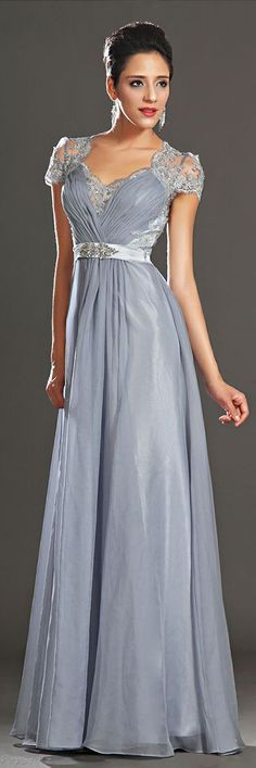 Elegant Silver Evening Gown