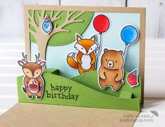 It's a Birthday Party – Lawn Fawn Party Animals | Right as Rain by Jean Manis