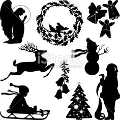 Christmas silhouettes Royalty Free Stock Vector Art Illustration